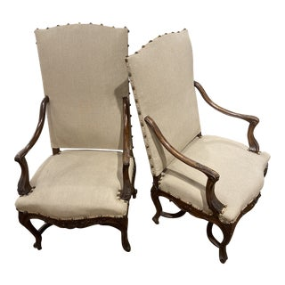 French Carved Arms and Apron Armchairs - a Pair For Sale