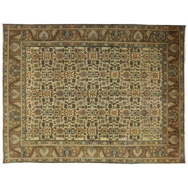 """Mid 20th Century Vintage Persian Tabriz Art Deco Style Rug - 9'8"""" X 12'7"""" For Sale - Image 5 of 6"""