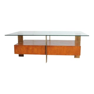 Mid Century Modern Wood and Metal Coffee Table For Sale