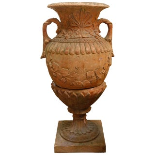 Red Terracotta Urn and Pedestal For Sale