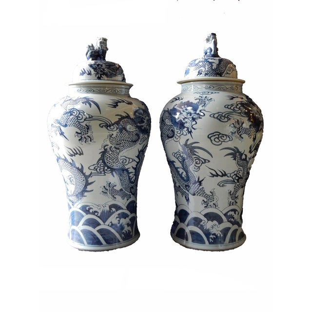 Mansion Size H. Painted Dragon Ginger Jars - a Pair - Image 8 of 9