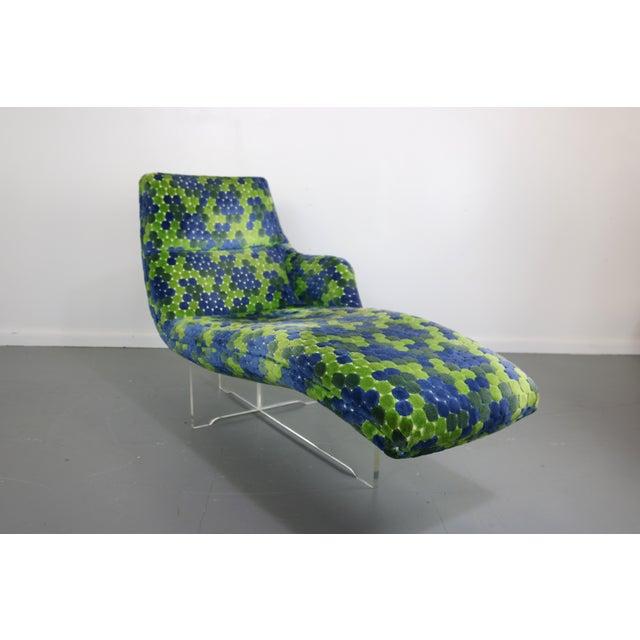 Vladimir Kagan Erica Lucite & Original Fabric Chaise - Image 3 of 8