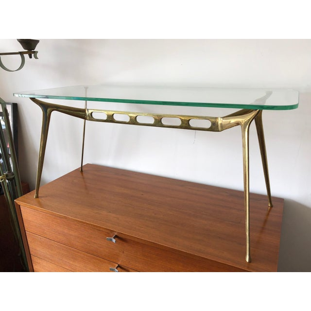 Fantastic and rare Cesare Lacca cocktail table. Brass and original glass top.