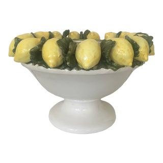 Vintage Lemon Pedestal Centerpiece Bowl For Sale