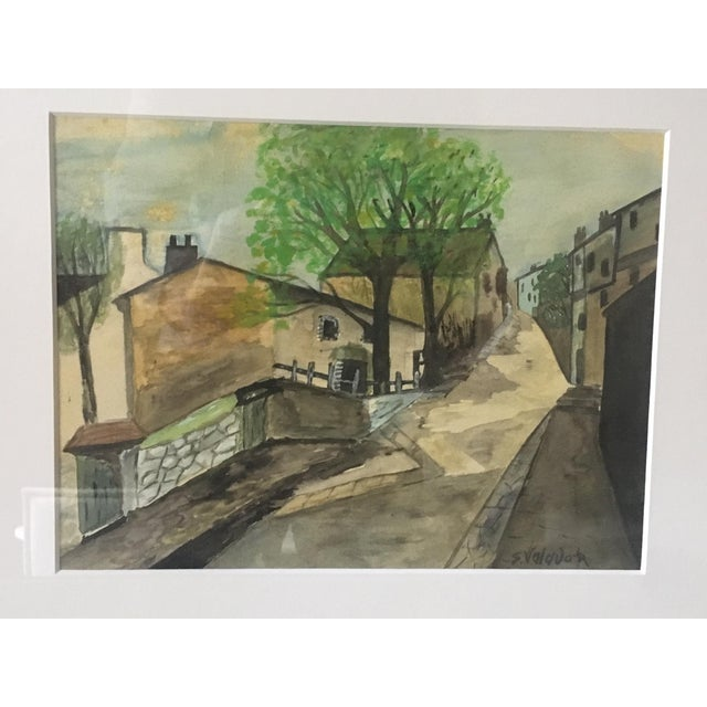 """Watercolor painting in the manner of Suzanne Valadon, nicely framed. 15.5 x 12.5"""" (frame)"""
