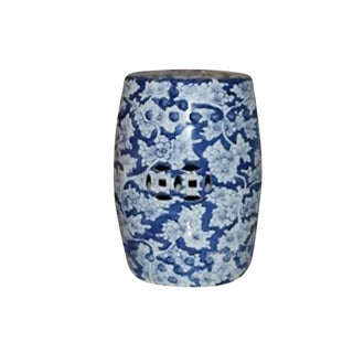 Blue and White Porcelain Stool For Sale