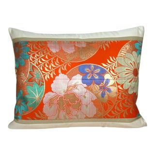 Vermillion Floral Japanese Silk Obi Pillow Cover For Sale