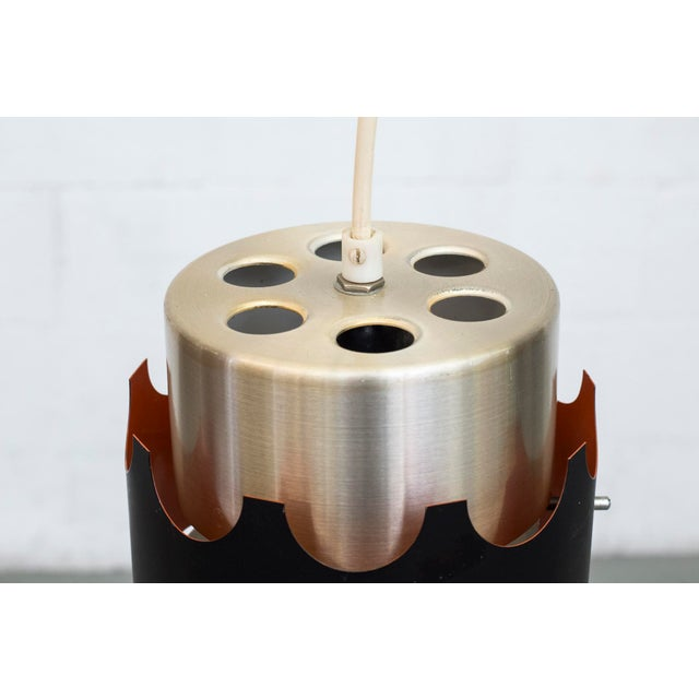 Hoogersvort Style Spun Aluminum & Black Cylinder Pendants - Set of 3 - Image 3 of 6