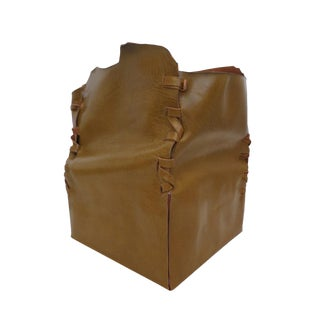 Handmade Leather Trash Bin For Sale