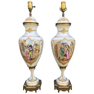 Antique 19th Century Sevres Porcelain Gilt Bronze Mounted Covered Urn Vase Table Lamps - a Pair For Sale
