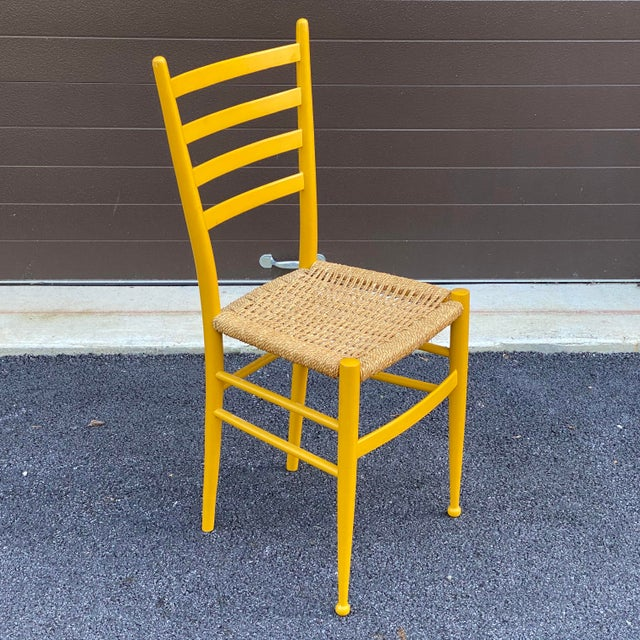 Mustard Woven Rope Gio Ponti Style Side Chair For Sale - Image 8 of 12
