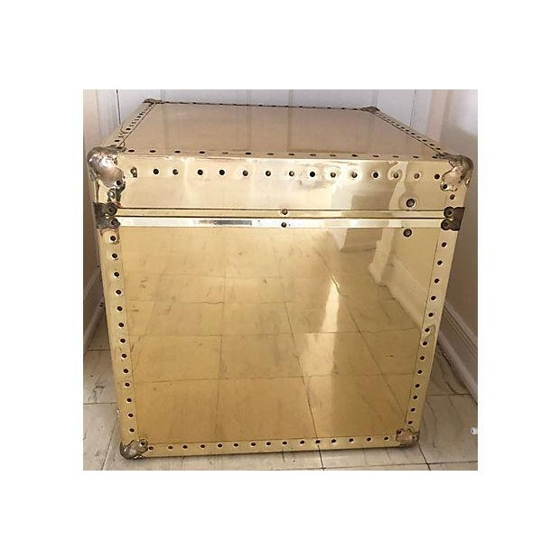 Brass and Wood Trunk / Side Table - Image 4 of 7