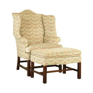 Carr & Company Chippendale Style Mahogany Wing Chair W/ Ottoman For Sale