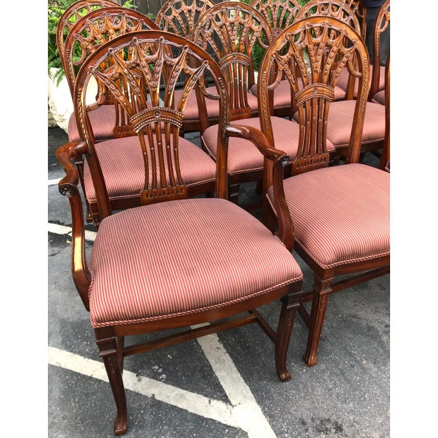 Georgian Set of 12 Maitland-Smith Georgian Mahogany Dining Chairs For Sale - Image 3 of 11