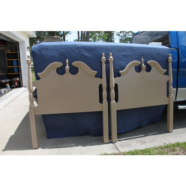 Hollywood Regency Georgian Camel / Putty Gloss Twin Headboards - a Pair For Sale - Image 10 of 10