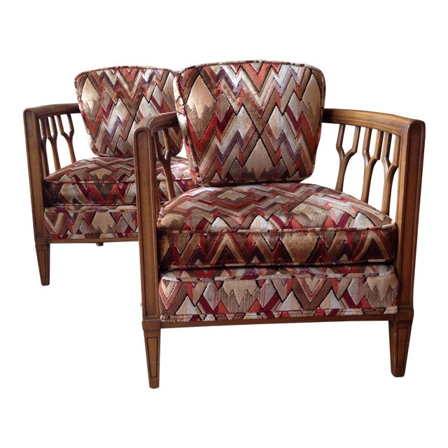 Vintage Barrel Back Club Chairs - A Pair - Image 1 of 11