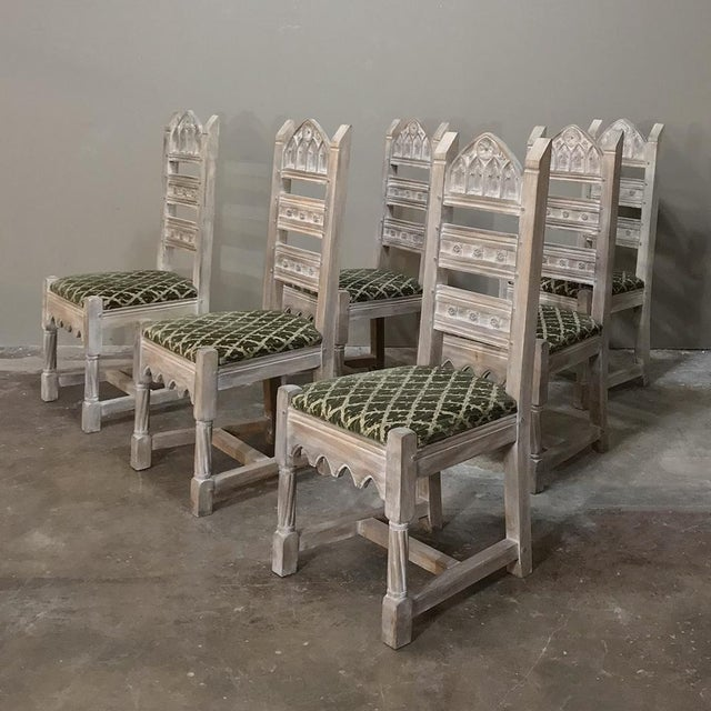 Early 20th Century Antique Rustic Gothic Stripped Dining Chairs- Set of 6 For Sale - Image 4 of 12