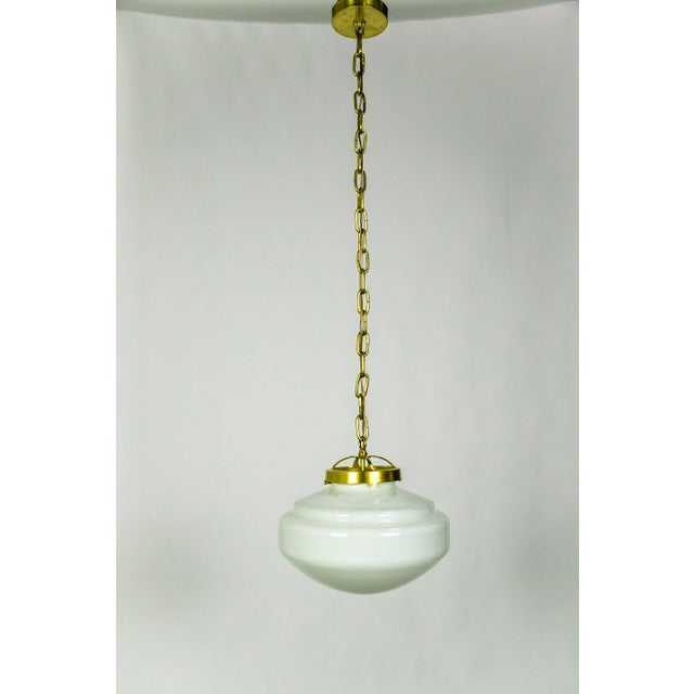 White 1940's Stair-Step Schoolhouse Pendant For Sale - Image 8 of 9