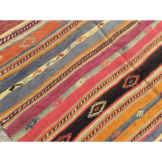1960s Striped Soft Colored Turkish Kilim Rug For Sale - Image 5 of 9