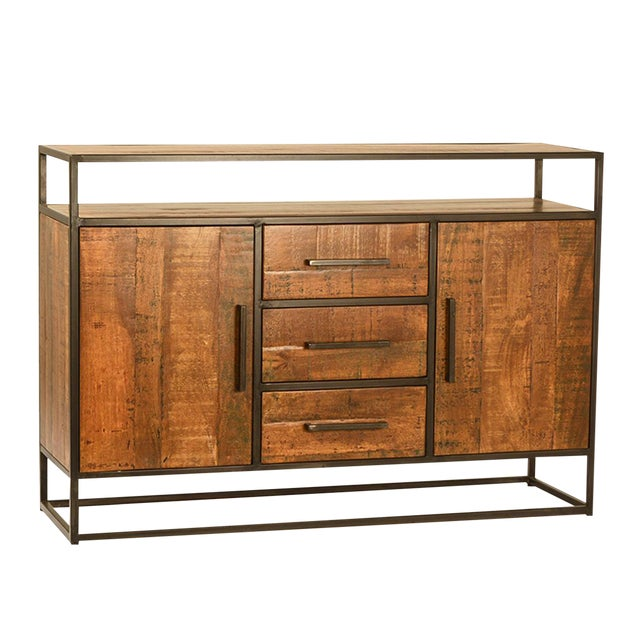 Mango Wood & Iron Sideboard W/Drawers For Sale