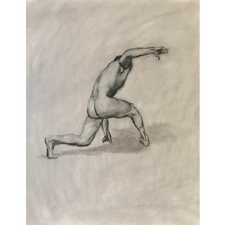1990s Vintage Male Nude Figure Study Drawing For Sale