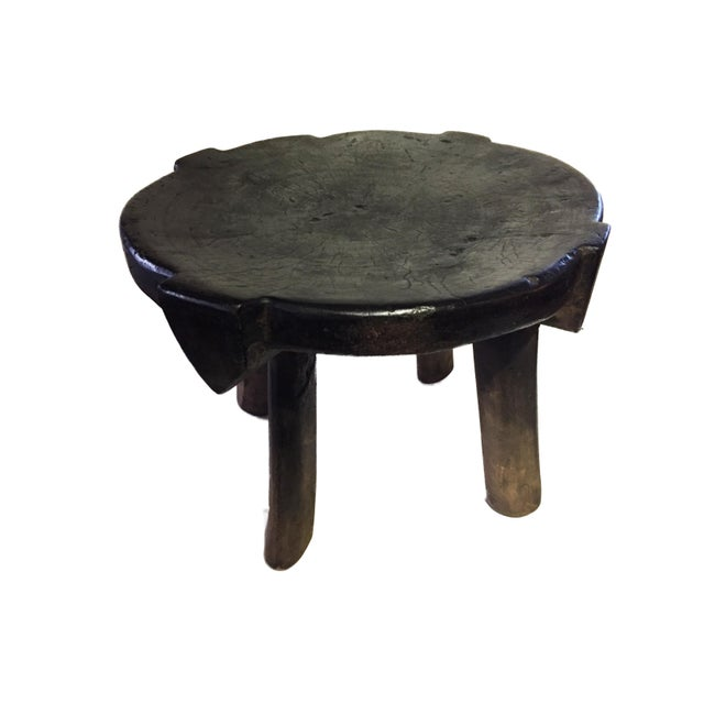 """African Old Carved Wood Milk Stool Hehe Gogo People Tanzania 10.25"""" H For Sale - Image 11 of 12"""