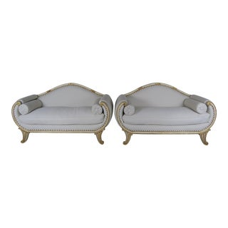 Pair of Italian Painted and Parcel Gilt Settees, Circa 1900s For Sale