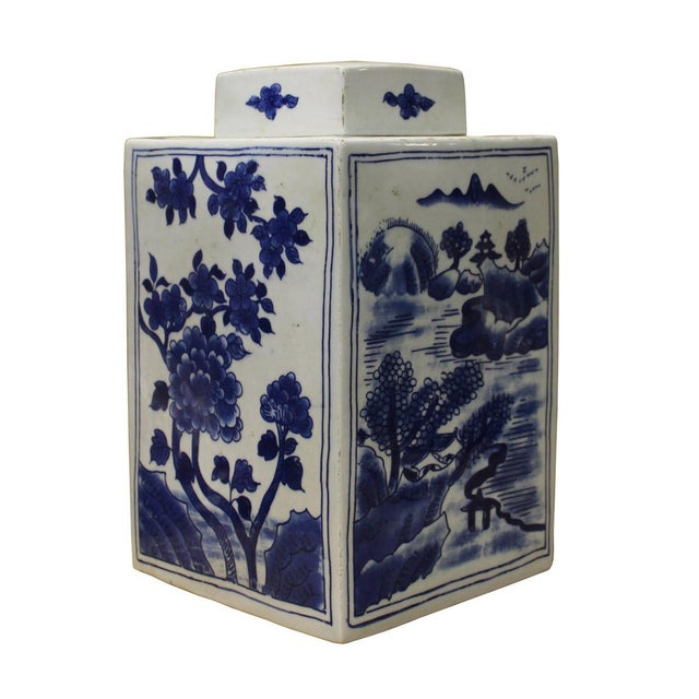 Asian Chinese Blue & White Porcelain Flowers Jar For Sale - Image 3 of 6