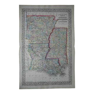 Antique Map of Arkansas, Mississippi, Louisiana For Sale