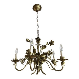 Tole Style Gold Chandelier For Sale