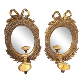 Vintage Gilt Mirrors or Candle Sconces - a Pair For Sale