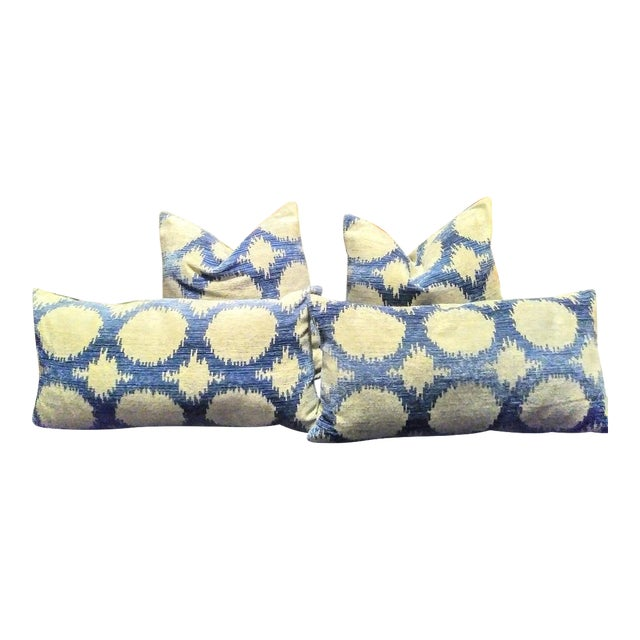 Set of 4 Down Stuffed Blue Silver Geometric Throw Pillows For Sale