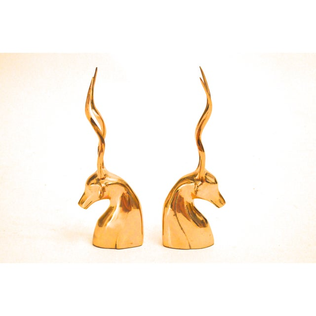 Vintage Brass Antelope Bookends For Sale - Image 4 of 6