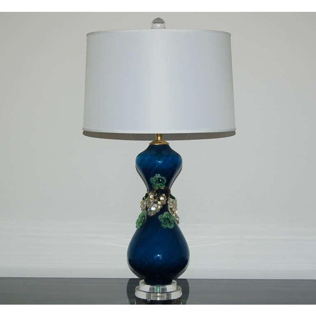Murano Vintage Murano Glass Fruit Table Lamps Blue For Sale - Image 4 of 8