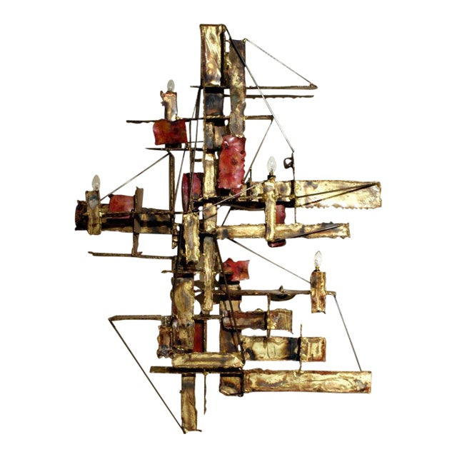 Brutalist Illuminated Wall Sculpture by Silas Seandel For Sale