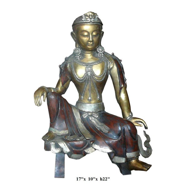 Chinese Handmade Metal Tara Statue For Sale In San Francisco - Image 6 of 6