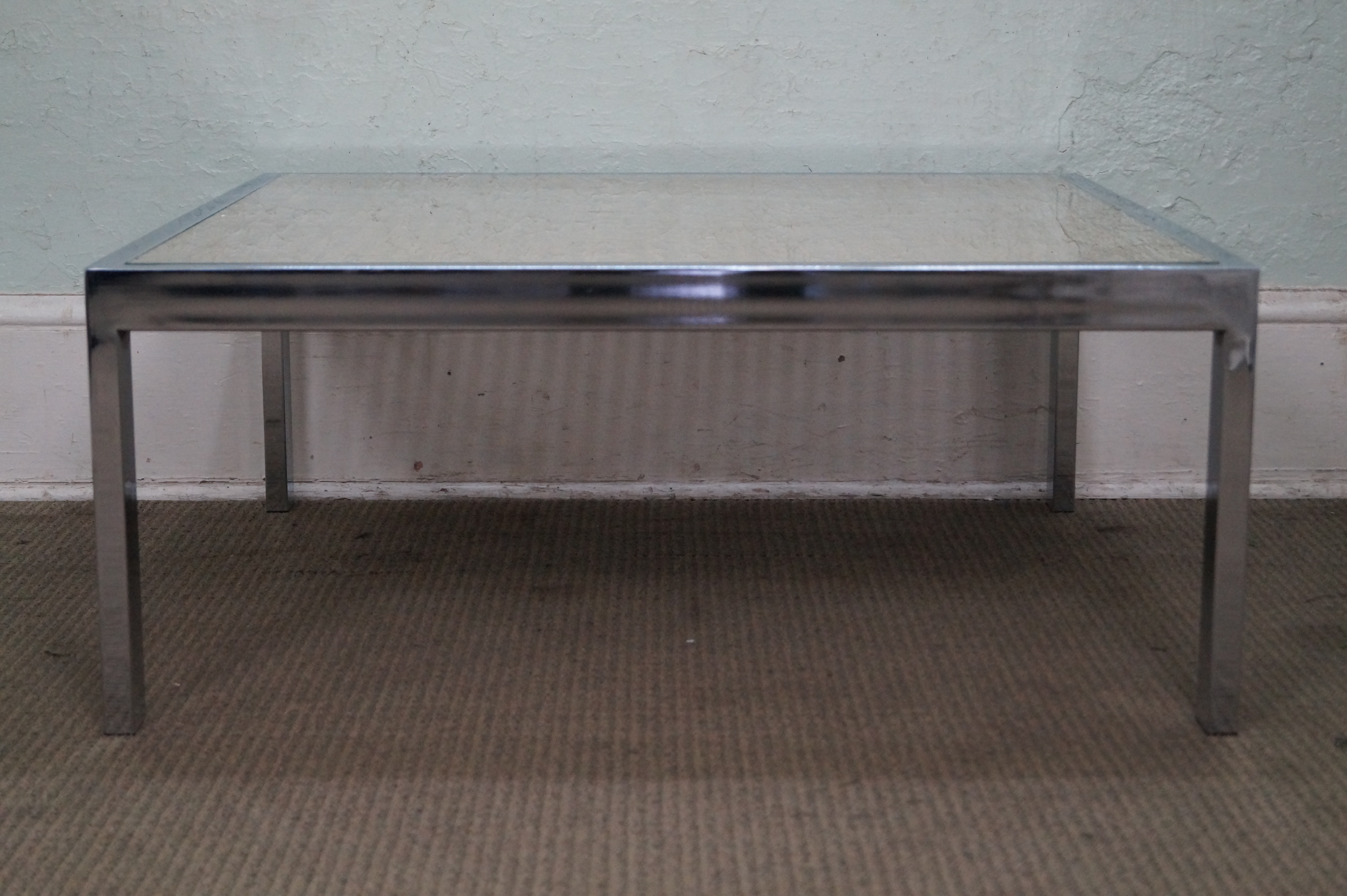 Mid Century Modern Milo Baughman Chrome U0026 Cane Glass Top Square Coffee Table  For Sale