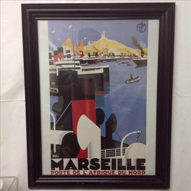 Art Deco Marseille Porte de l'Afrique du Nord Framed Poster For Sale - Image 3 of 4