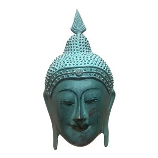 Vintage Bronze Buddha Mask Wall Sculpture For Sale