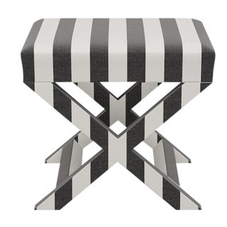 X Bench in Ink Cabana Stripe For Sale