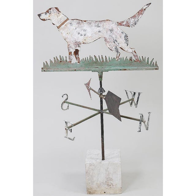 A striking painted sheet metal weathervane depicting a Setter Nice patina , Paint loss and rust , overall striking , with...