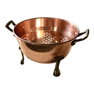 Small Copper Colander With Brass Handles & Feet