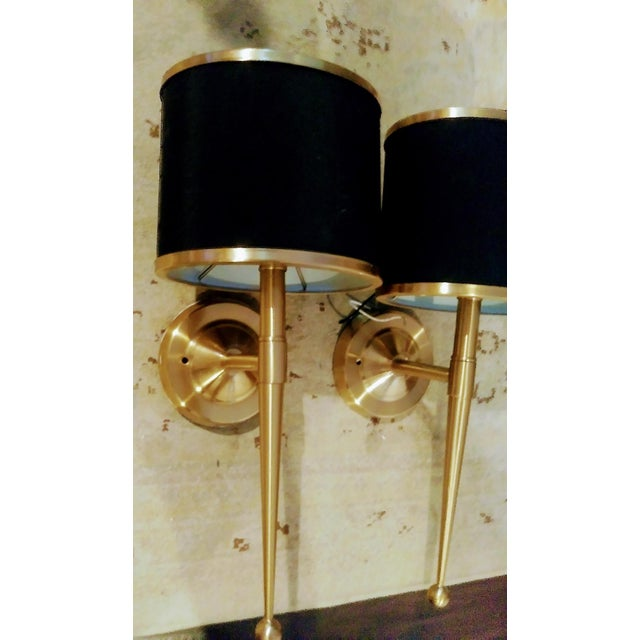 Jonathan Adler Black and Gold Streamlined Wall Sconce Lights - a Pair For Sale - Image 4 of 7