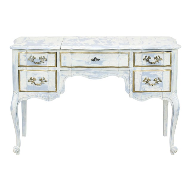 French Provincial White Shabby Chic Vanity Desk For Sale
