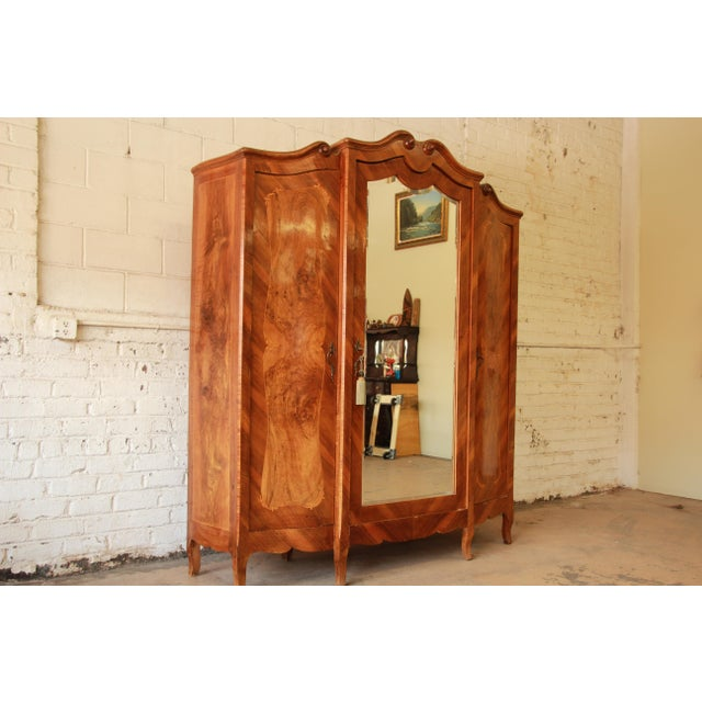 French 1870's Burled and Inlaid French Knockdown Wardrobe For Sale - Image 3 of 13