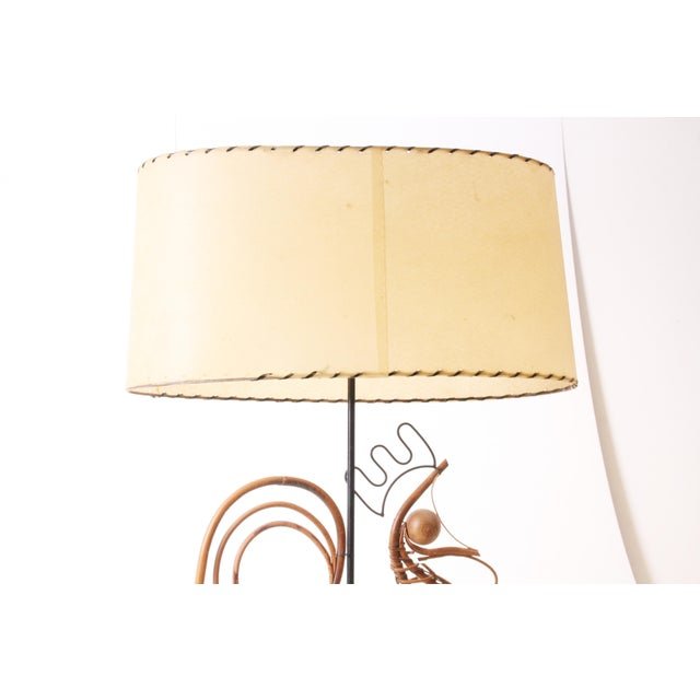 Frederick Weinberg Mid Century Modern Wicker Table Lamp For Sale - Image 6 of 11