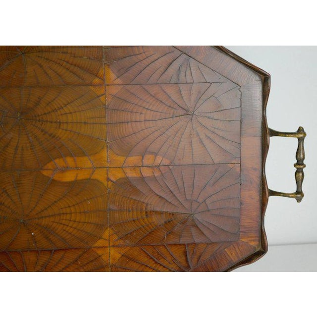 Wood Oyster Veneer Tray For Sale - Image 7 of 13