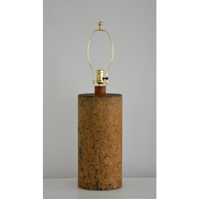 Mid-Century Cylindrical Form Cork Table Lamp For Sale - Image 11 of 11