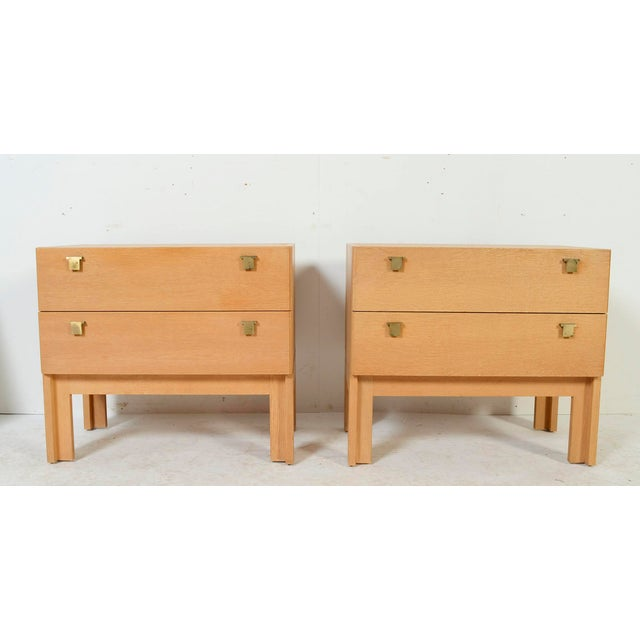 Pair of Oak Nightstands. Chest of frame. Soaped oak finish. Very nice brass hardware made in Italy. There is an optional...