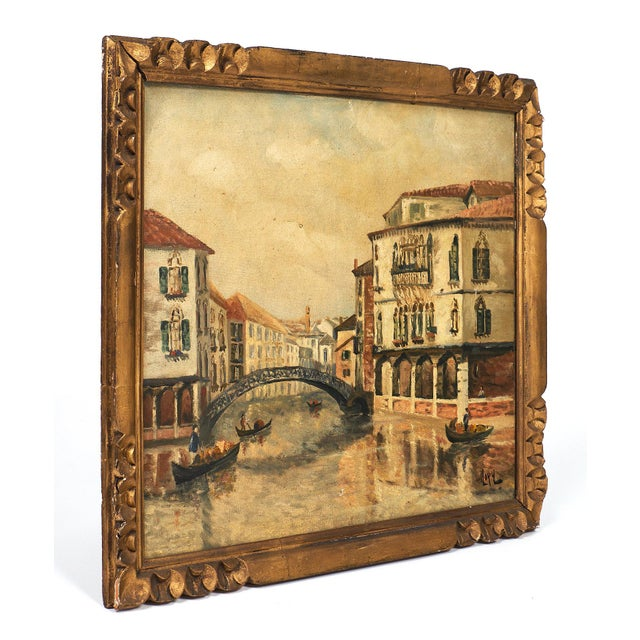 Antique oil on canvas painting of Venice with the original gold leafed frame. The image represents the Castello...